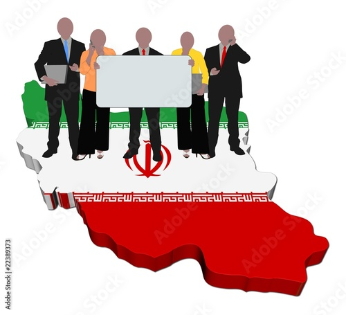 business team with sign on Iran map flag illustration