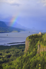Rainbow in the Columbia Gorge Oregon.