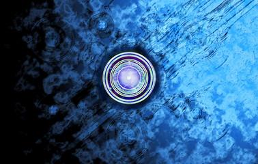 Emblem auf blauem Hintergrund
