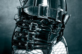 black latex uniform with metal buckles poster