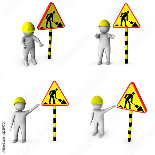 set of 3d workers with 'road works' sign