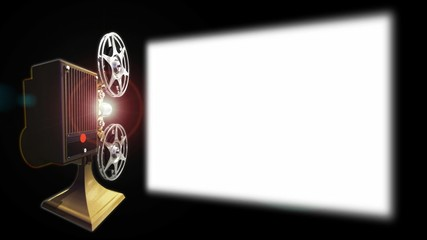 Projector film shows a film on screen