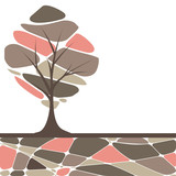 Fototapety Abstract tree with red flowers. vector illustration