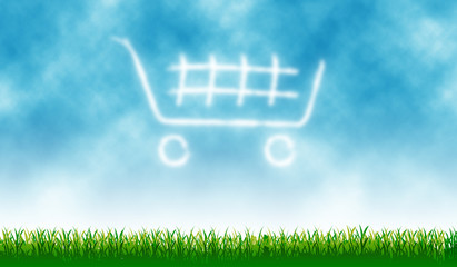 Shopping Cart icon with outdoor cloud - background