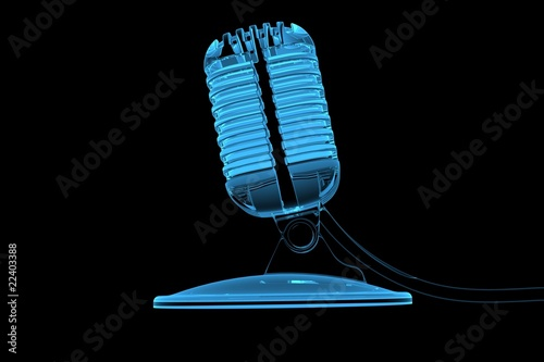 Old microphone 3D rendered xray blue transparent