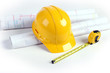 Plans, Hardhat and Measuring Tape