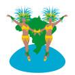 Danseuses de samba jaune