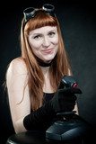 Redhead with joystick poster