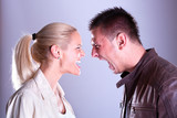 Portrait fury couple. Face to face. poster