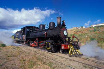Steam engine train in Patagonia.