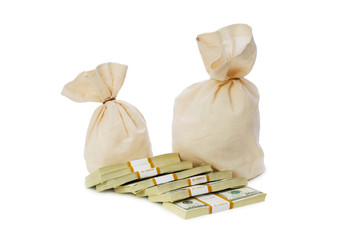 Sacks of money isolated on the white