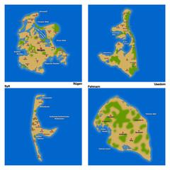 Landkarten - Sylt, Fehmarn, Rügen, Usedom (01)