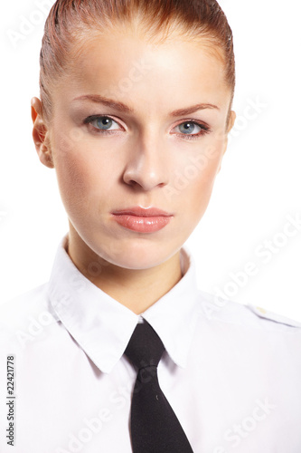 Businesswoman isolated on white background.