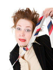 Depressed businesswoman strangle suicide self tie.