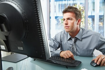 Professional working on computer