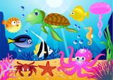 Sealife cartoon - 22428517