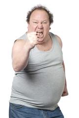 homme obèse poings levés survolté