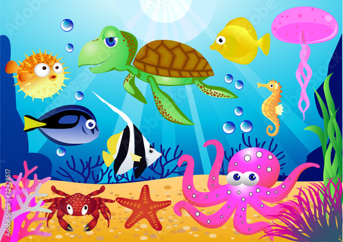 In de dag Onderzeeer Sealife cartoon