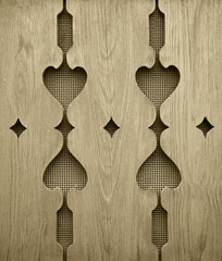 Heart shaped planks in sepia