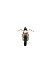 frontal view of motorcyle in 3d on white