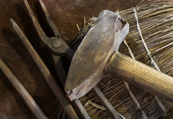 old hammer and blacksmith tools