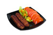 Kebab with vegetable garnish