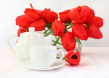 tea cup and red tulips