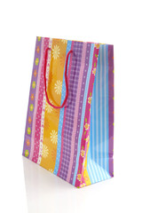 colorful shopping bag over white background