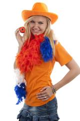 Female dutch soccer fan over white background