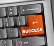 "Keyboard Illustration with ""Success"" Button"
