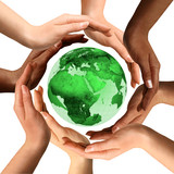 Multiracial Hands Around the Earth Globe poster