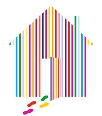 Haus mit Farbstreifen
