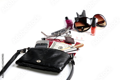 Woman Clutch Bag with some of its Contents