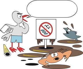 Oil pollution cartoon