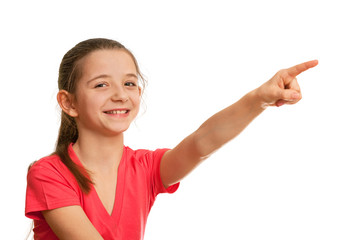 Smiling girl pointing forward