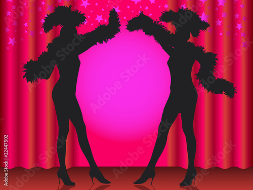 Welcome! Silhouette of two showgirls in cabaret. - 22447502