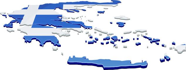 Carte de la Grèce 3D drapeau (détouré)