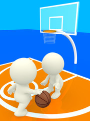 3D people bouncing basketball