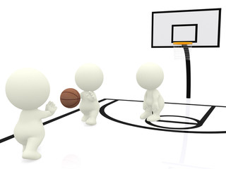 3D people playing basketball