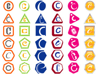 Letter C Icons Badges and Tags