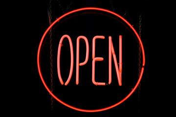 Circle OPEN neon sign