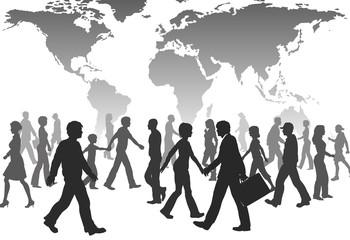 Global People walk world population silhouettes