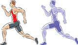 Drawing of two stylized sprinters or runners. poster