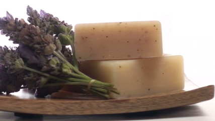 Herbal soap and lavender on tray loop - HD