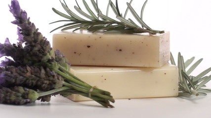 Herbal soap with rosemary and lavender zoom in - HD
