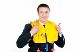 steward with life jacket