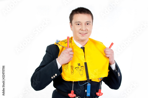 canvas print picture steward with life jacket