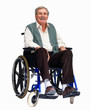 Happy older man sitting isolated on a wheelchair