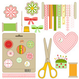 Set of  crafts and needlework stuff, vector illustration poster