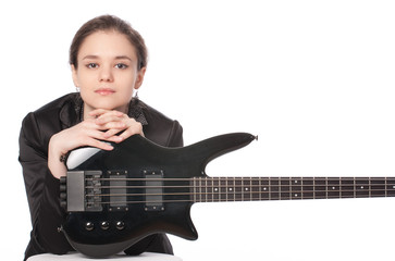 Girl posing with bass guitar